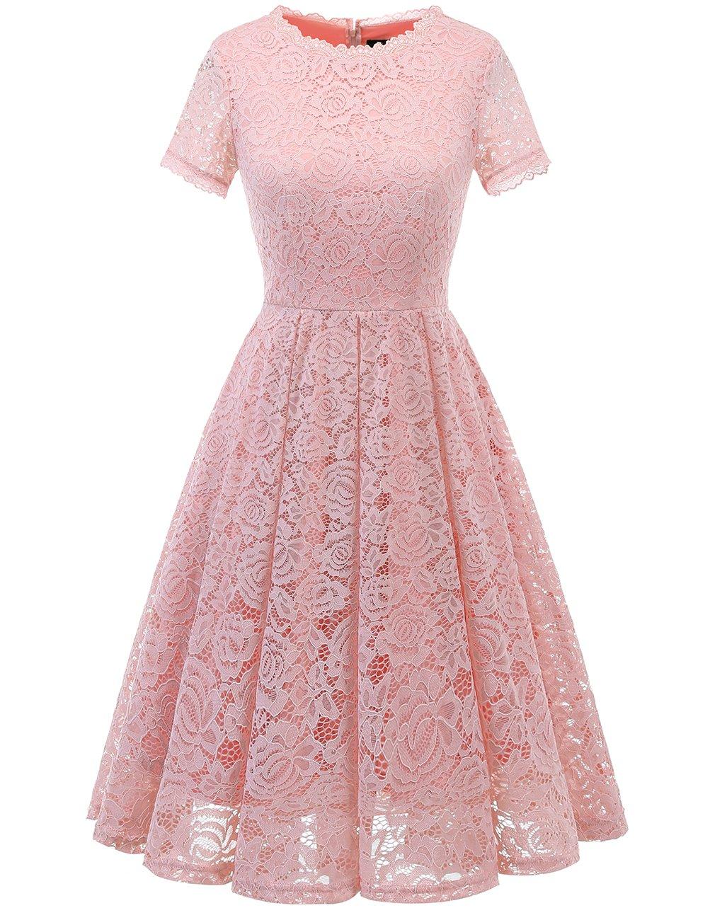 DRESSTELLS Women's Bridesmaid Vintage Tea Dress Floral Lace Cocktail Formal Swing Dress Blush M