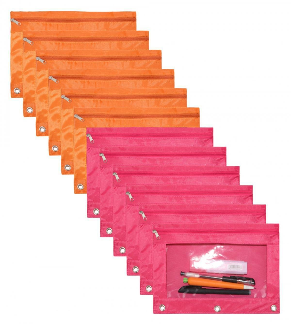 WODISON 12 Pcs Office School Class Zippered 3 Ring Binder Pencil Pouch Case with Clear Window