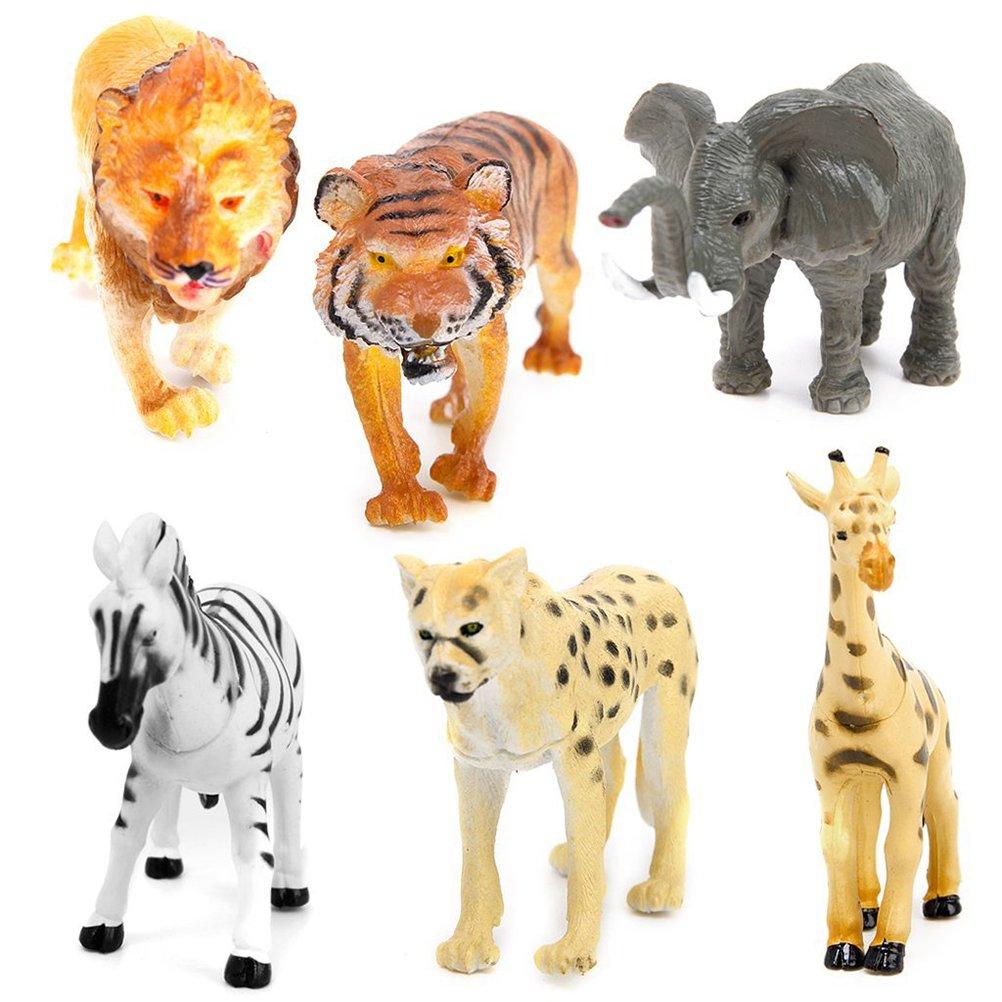 VORCOOL 6 Stück Waldtiere Figuren Spielzeug - Elephant Tiger Giraffe Leopard Lion Zebra