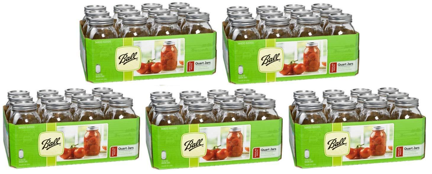 Quart Clear Regular Mouth Glass Canning Jars - 12 Pk - (5 Pack)