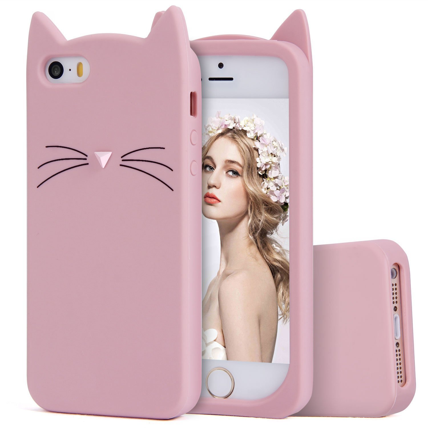 daa317a5cb4c22 Amazon.com: iPhone SE Case, MC Fashion Cute 3D Pink Meow Party Cat Ears  Kitty Whiskers Soft Silicone Case for iPhone 5/5S/SE (Cat Whiskers-Pink):  Cell ...