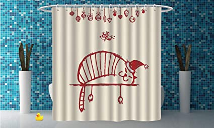 IPrint Stylish Shower Curtain Christmas DecorationsFun Cat Sleeping With Hat And Little Fairy