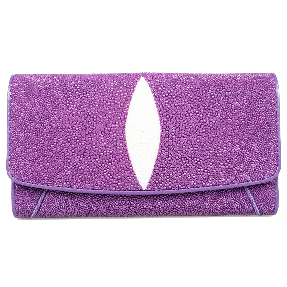 Genuine Stingray Skin Leather Purple Trifold Card Window ID Purse Wallet Clutch by Kanthima