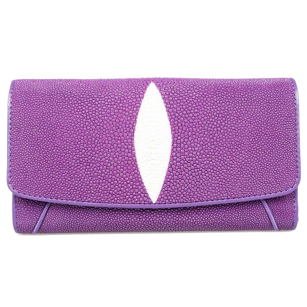 Genuine Stingray Skin Leather Purple Trifold Card Window ID Purse Wallet Clutch