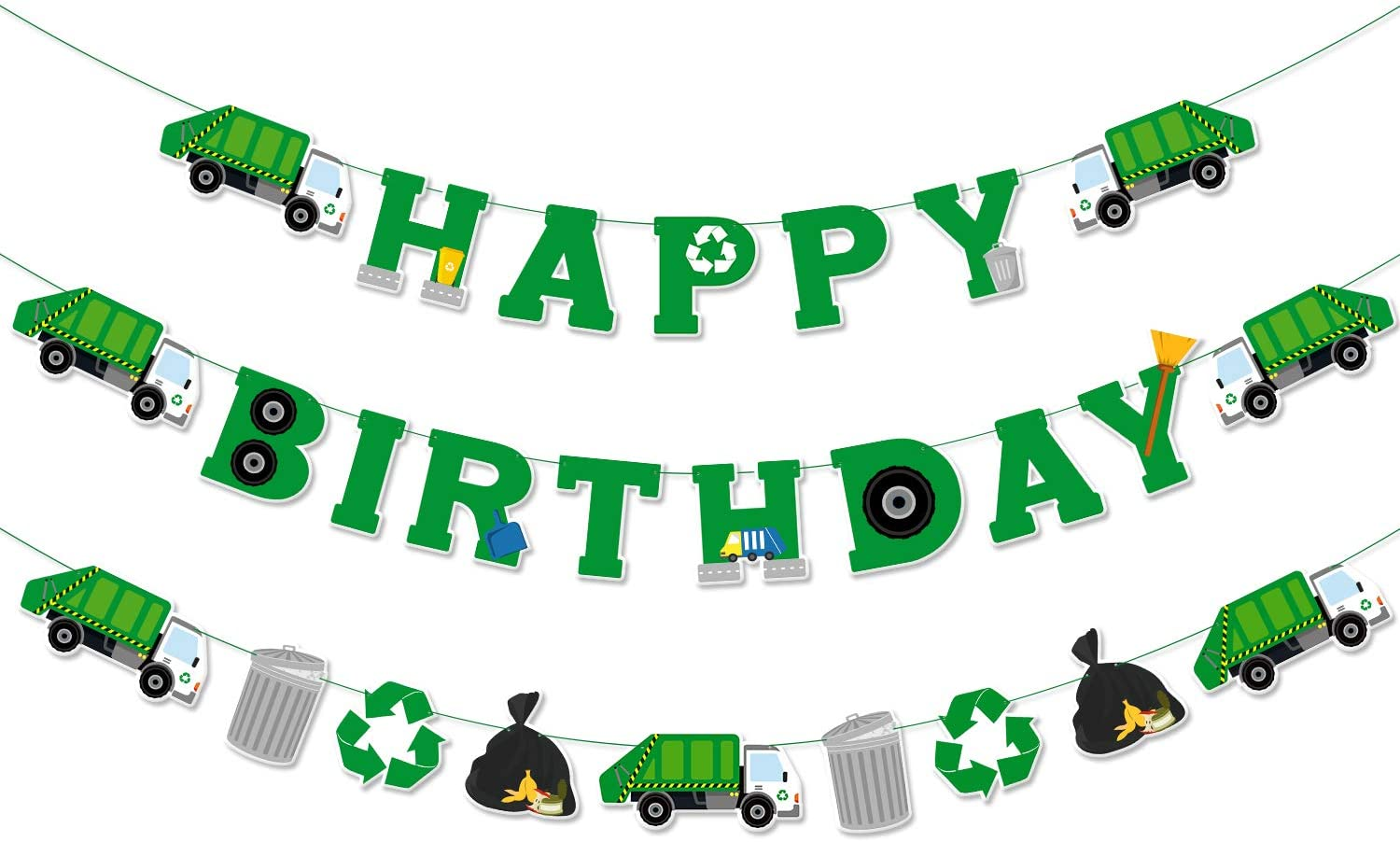 Garbage Truck Birthday Banner Trash Truck Party Supplies Waste Management Recycling Decorations Set of 3