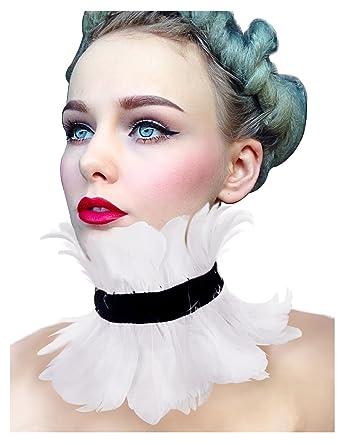 KELAND Femme gothique victoria naturelles plumes collier Costume Gothique d  Halloween (Blanc) 2a33b765a32