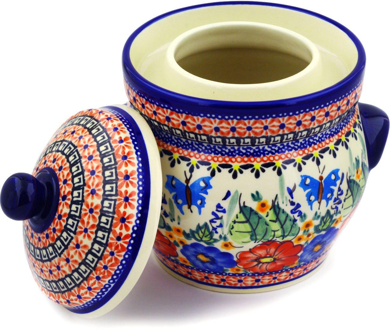 Polish Pottery Fermenting Crock Pot with Water Seal (7 Cups) Spring Splendor UNIKAT