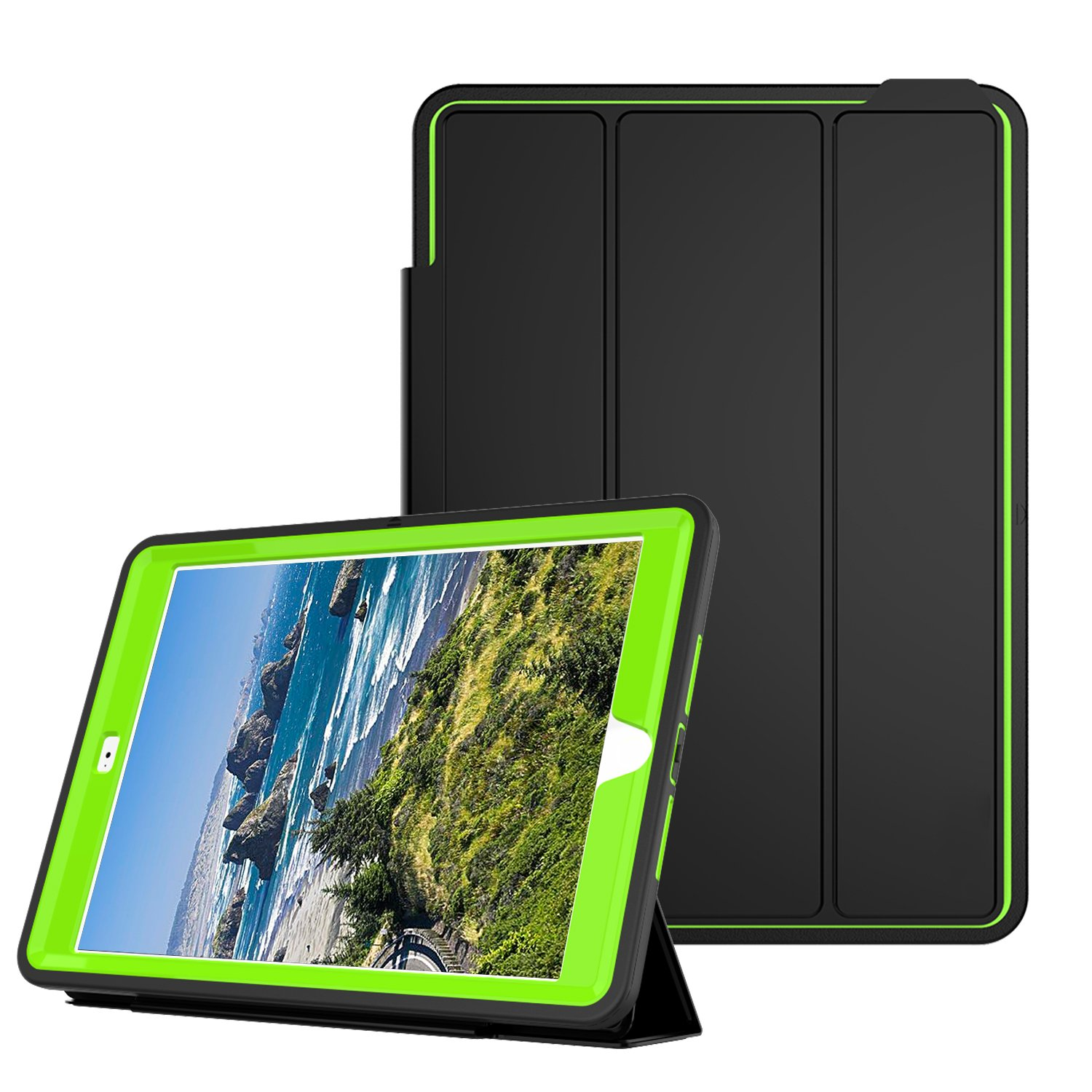 Qelus iPad Air2 Case, Three Layer Hybrid Shockproof Rugged Protective Heavy Duty with Magnetic Stand, Smart Cover Auto Wake/Sleep Protective Case Cover for Apple iPad Air 2(2014 Released),Black+Green by Qelus (Image #1)