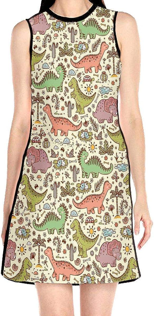 SAPOY Womens Cartoon Dinosaur A-line Sleeveless Dress