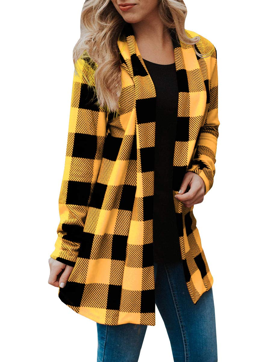 Shele Womens Plaid Elbow Patches Cardigan Sweater Long Sleeve Draped Open Front Tops Outwear