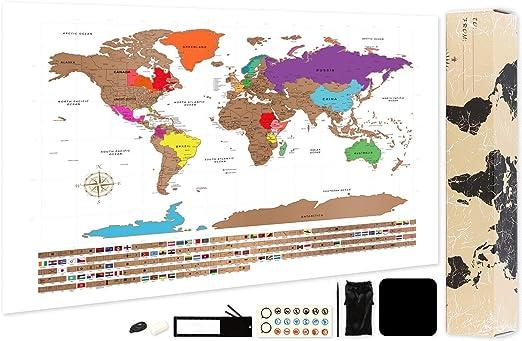 Mapa del mundo para rascar, A2, mapa del mundo, mapa de viaje detallado con ciudades y banderas, 59,4 x 42 cm: Amazon.es: Oficina y papelería