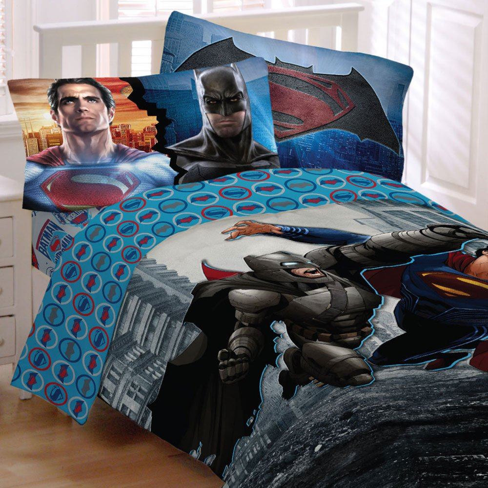 Batman Vs Superman World's Finest Reversible Twin/Full Comforter and Full Sheet Set
