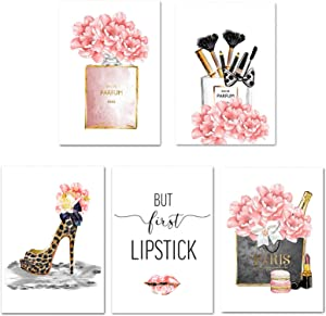 Lodintech Fashion Canvas Wall Art Girls Bedroom Wall Decor Pink Flower Perfume Unframed Art Prints Fashion Posters Living Room Women Office Decorations Red Lip Makeup Brush High Heels Paintings (5pcs 8x12'')