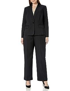 Le Suit Womens 3 Button Notch Collar Wide Pinstripe Pant Suit
