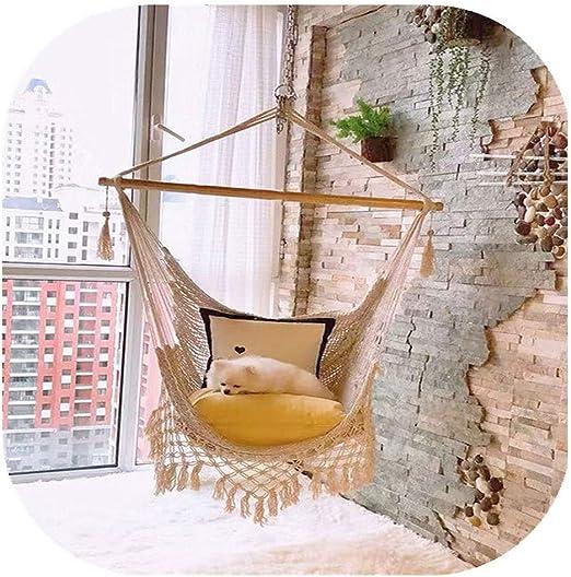 KOREY Interior | Exterior Silla Colgante Algodón Colgante Jardin Portable Hamaca para Adultos Sala De Estar Jardín Bar Patio Porche: Amazon.es: Hogar