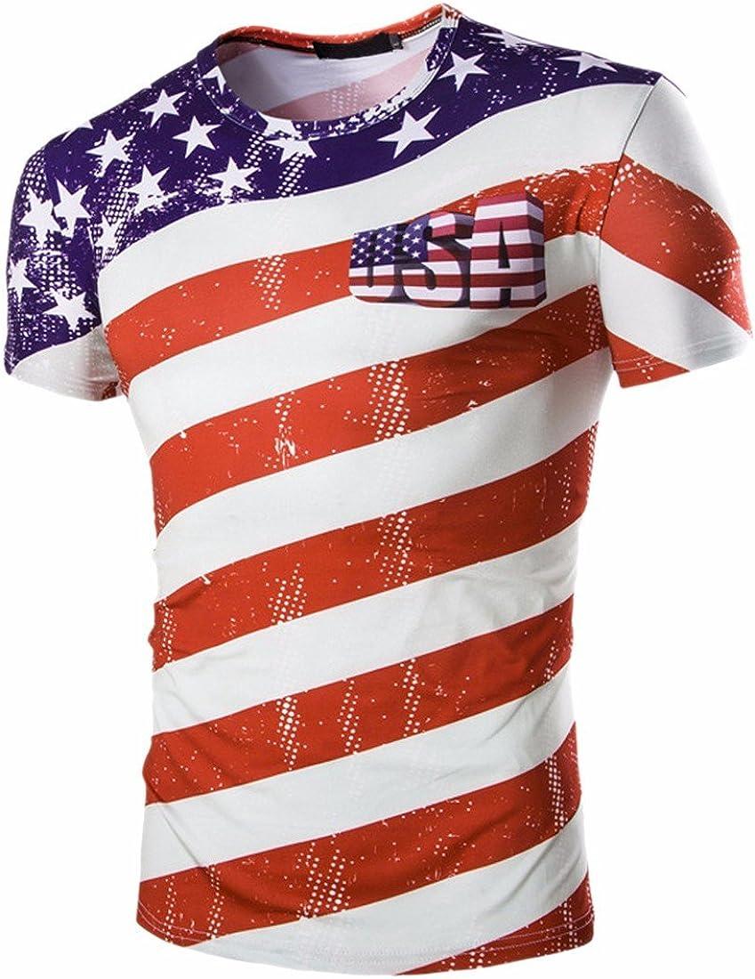 QIYUN.Z De Las Barras Y Estrellas De La Bandera Americana Los USA De Los Hombres De Impresion De Manga Corta Camiseta Camisas: Amazon.es: Ropa y accesorios