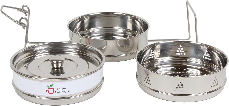 Chiboz Cookware stapelbare Dampfgarer-Einsatz mit Schlinggriff f/ür Sofort-Topf 8 Qt edelstahl