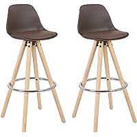 WOLTU® BH45-2 2 x Barhocker 2er Set Barstuhl aus Kunststoff Holzgestell mit Lehne + Fußstütze Design Stuhl Küchenstuhl optimal Komfort