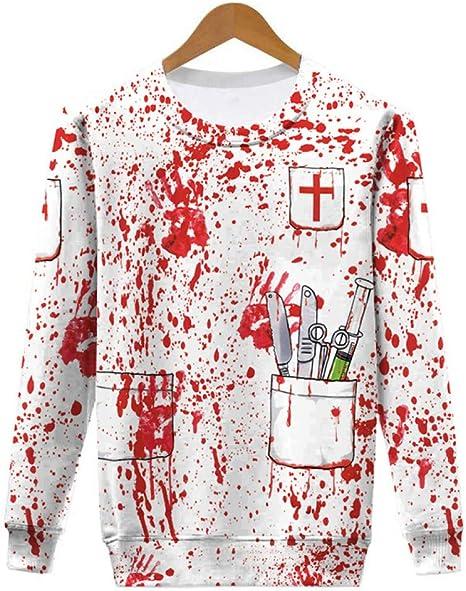 MEIXIA Disfraces De Halloween para Hombre Y Mujer/Jersey De Manga Larga/ Camiseta/Estampado De Terror Disfraz L: Amazon.es: Deportes y aire libre