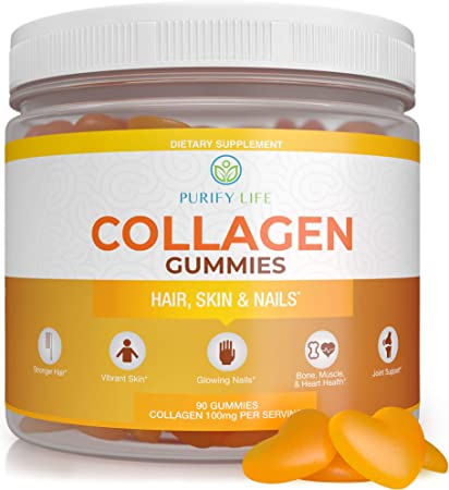 Collagen Gummies for Womens Hair Growth, Healthier Skin & Nails (Bulk 90 Gummies) Joint Care Vitamin - Anti-Aging, Pore Reducer & Elasticity - Hydrolyzed, Gluten Free, Non-GMO All Natural Supplement