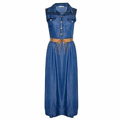 5caefa1ae3 Ladies Denim Retro Maxi Dress Women Long Buttoned Belted Fashion Dresses  8-12 (10-12 (Large))  Amazon.co.uk  Clothing