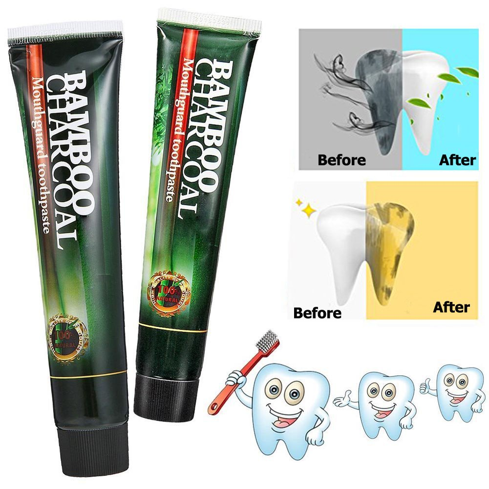 Activated Charcoal Teeth Whitening Toothpaste PLYSIN Free Natural Charcoal Bamboo Toothpaste with Deep Clean Protect for Anti-inflammatory Anti-Bacterial Eliminates Bad Breath and Coffee Stain