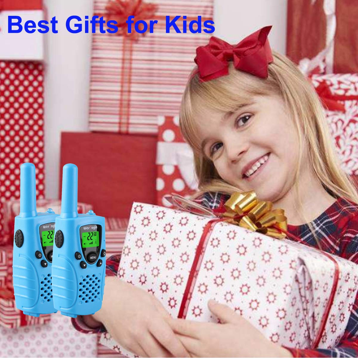 WES TAYIN Kids Walkie Talkies Rechargable, 4 Miles Long Range Walkie Talkies Toy with Durable Rugged Sports Design and Flashlight, Two Way Radios Toy 2 Pack, Batteries not Included(Blue) by WES TAYIN (Image #7)