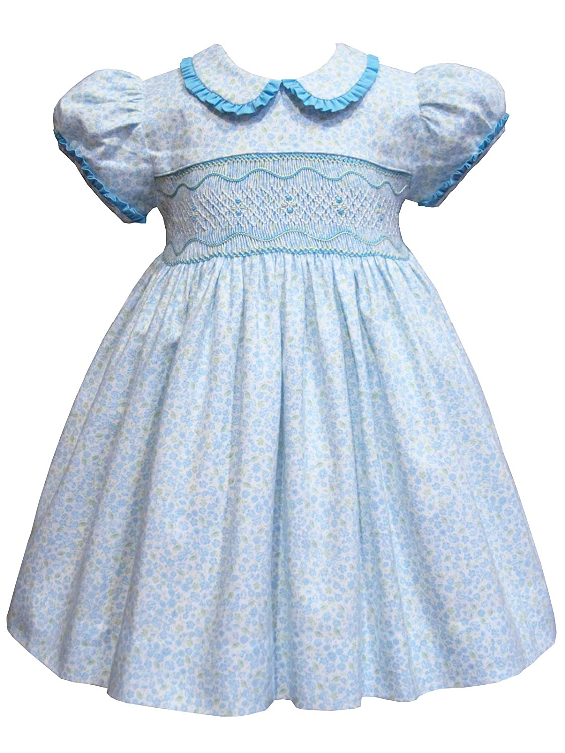 b9d7c1be8dcf Amazon.com: Blue Floral Heirloom Girls Easter Smocked Classic Dress:  Clothing