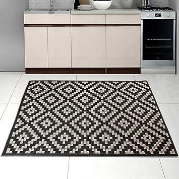 AmazonDe Teppich Sisal Optik In Schwarz Wei  Modern Kche