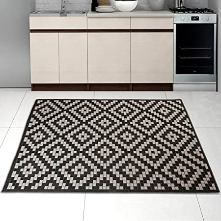 Sisal Rug Black Silver Modern Diamond Geometric Pattern Living Room Dininng  Room Kitchen Very Durable Oeko