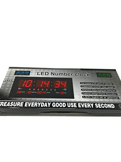RELOJ DIGITAL DE PARED DE PARED LED 46 X 22 CM, EXTRAPLANO, CON TAPA