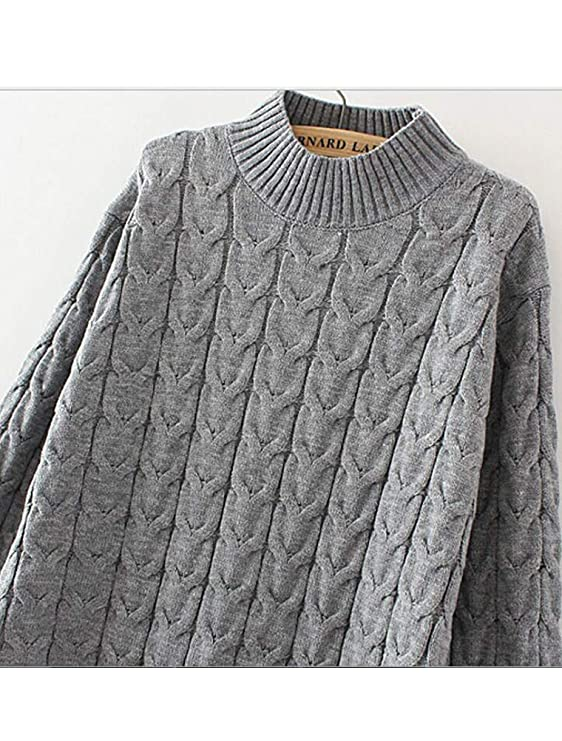 f841238ab Mordenmiss Women s Mock Neck Sweaters Ribbed Cable Knit Jumper at ...
