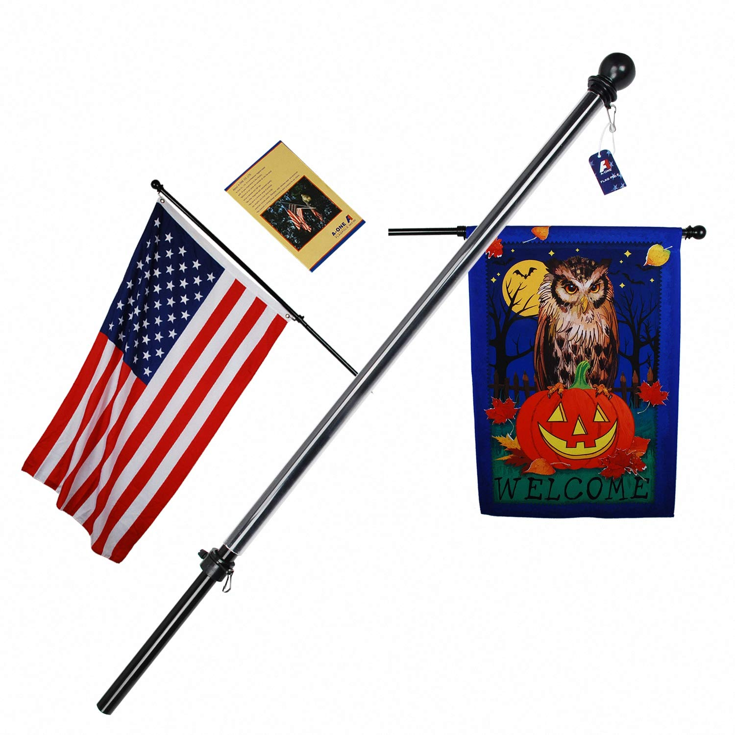 A-ONE 56'' Tangle Free Aluminum Flagpole for Grommet or House - American US Flag Pole Kit with Anti-wrap Sleeve, Stainless Steel Rust Prevention Clip & Decorative Ball, Black