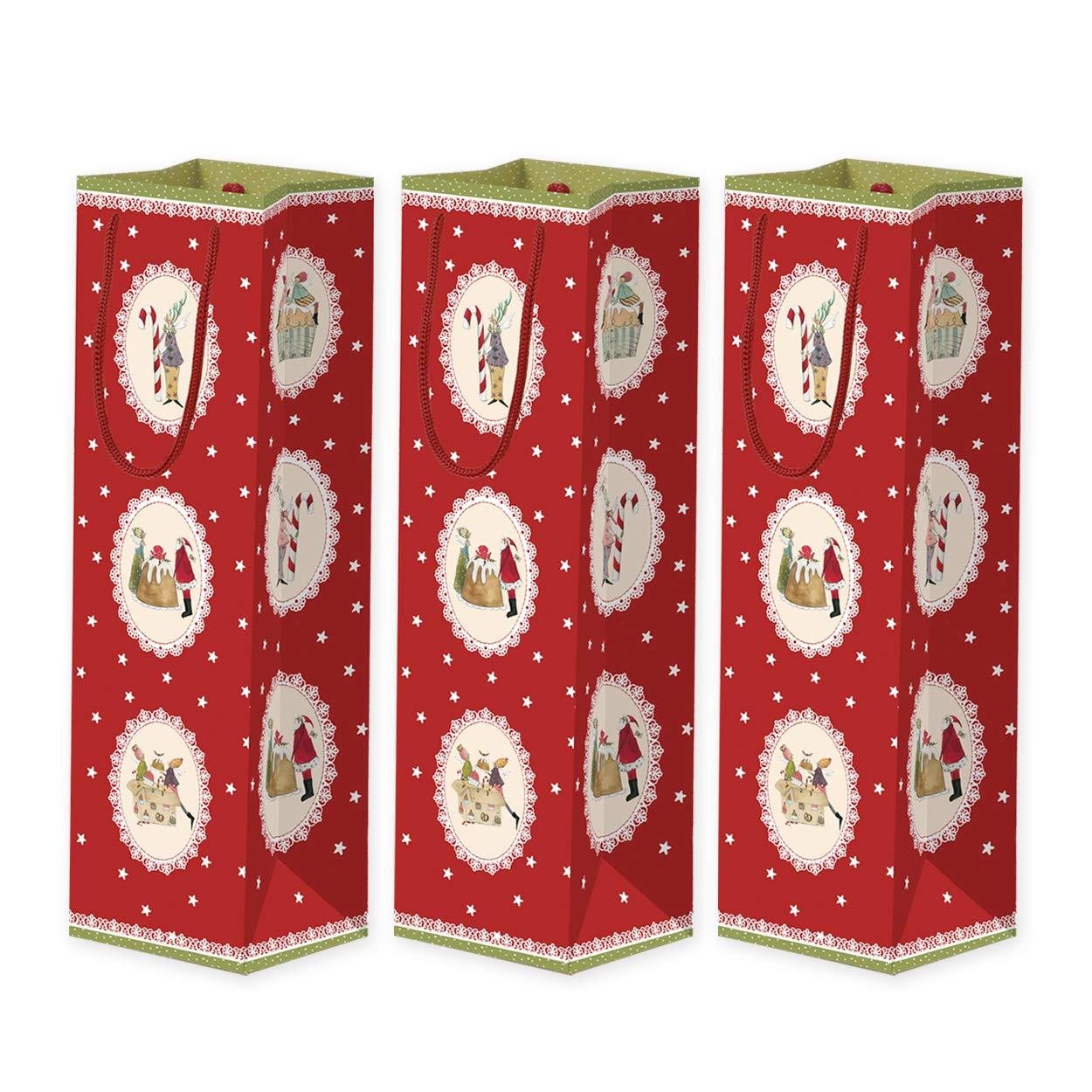 Juego de 3 bolsas de regalo para botellas de papel con asa grande, bolsas de papel Bolsa de botellas de vino, paquete de regalo, bolsa de regalo de Navidad, ...