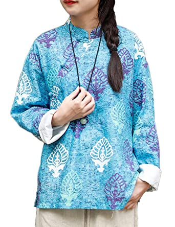 712625a891f8c8 Image Unavailable. Image not available for. Color: LZJN Women's Floral Blouse  Traditional Chinese Cheongsam Tops Long Sleeve Vintage Shirt