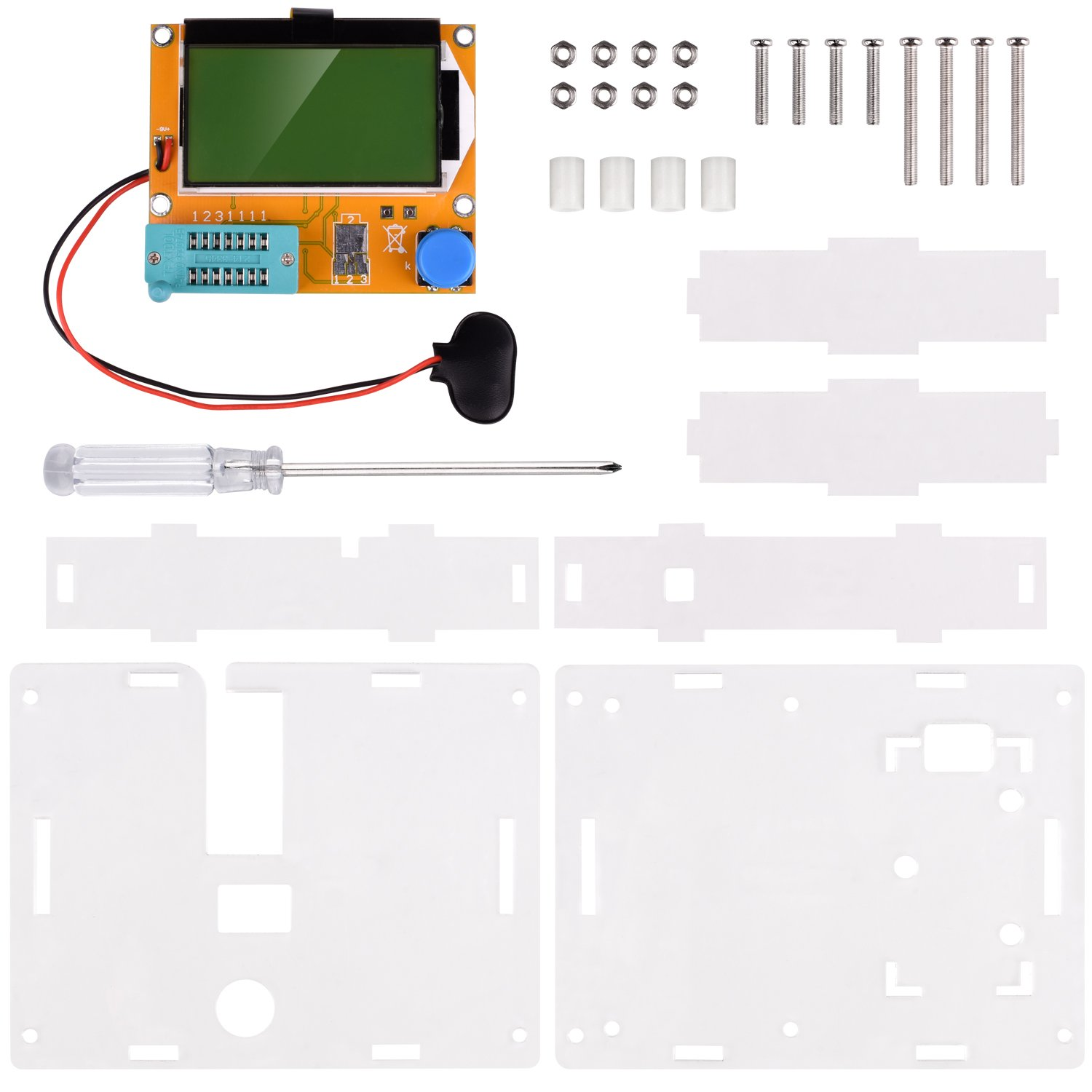 Multifunction Meter DIY kit, kuman Mega 328 Graphic transistor Tester, NPN PNP Diodes Triode Capacitor ESR SCR MOSFET Resistor Inductance LCD Display Checker with case and screwdriver K77 by Kuman (Image #2)