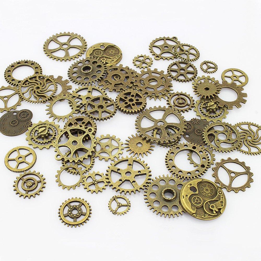 Steampunk Jewelry  Bronze Metal Skeleton Steampunk Watch Gear Cog Wheel Sets (50 Pcs) $6.98 AT vintagedancer.com