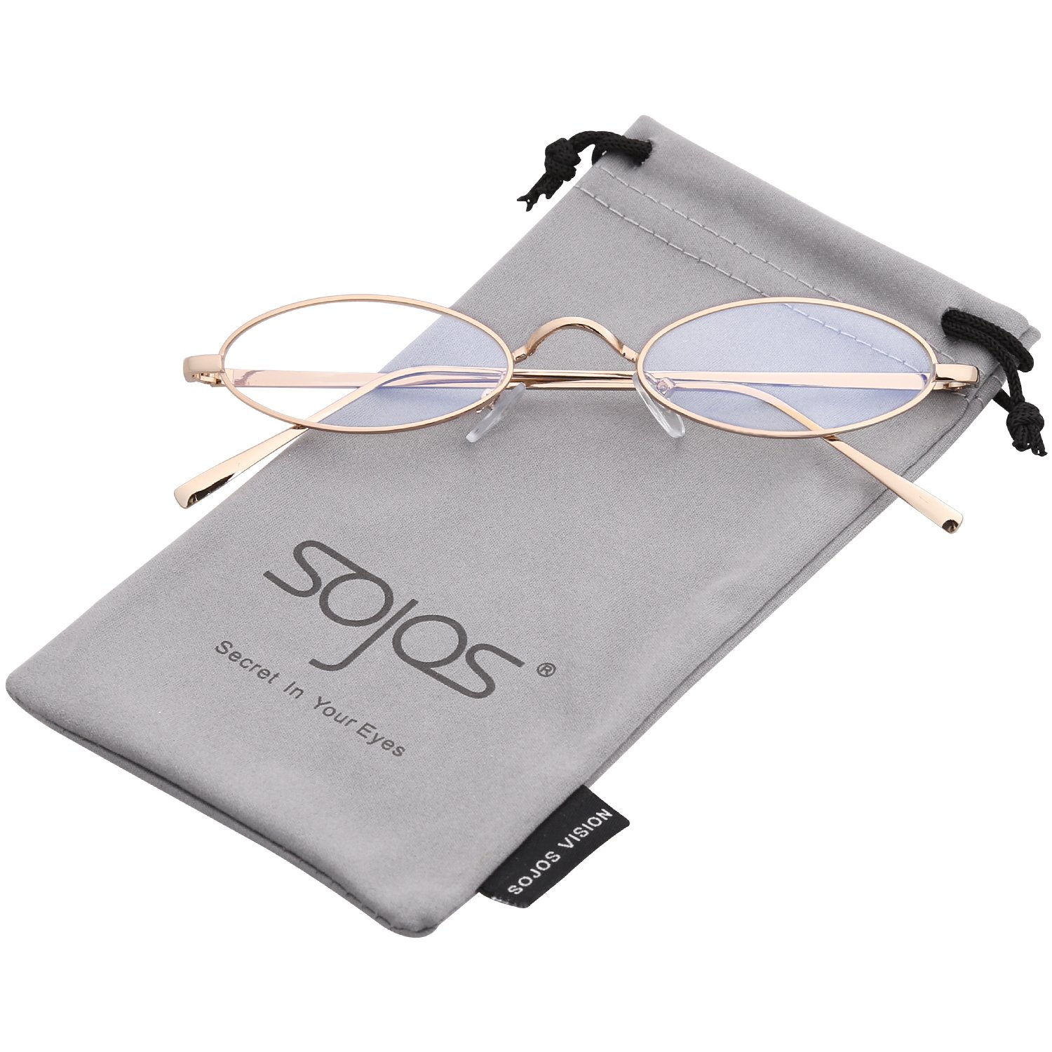 ee2a4607b8 SOJOS Vintage Slender Oval Sunglasses Small Metal Frame Candy Colors SJ1084  with Gold Frame Clear Lens