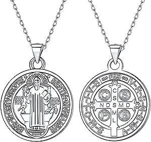 Silvora Medallas de Plata San Benito/Nudo Celta/Virgen Milagrosa/Arbol de Familia/Libertad de Pensamiento/Arcangel Miguel, Collar Plata 925 y Monedas ...