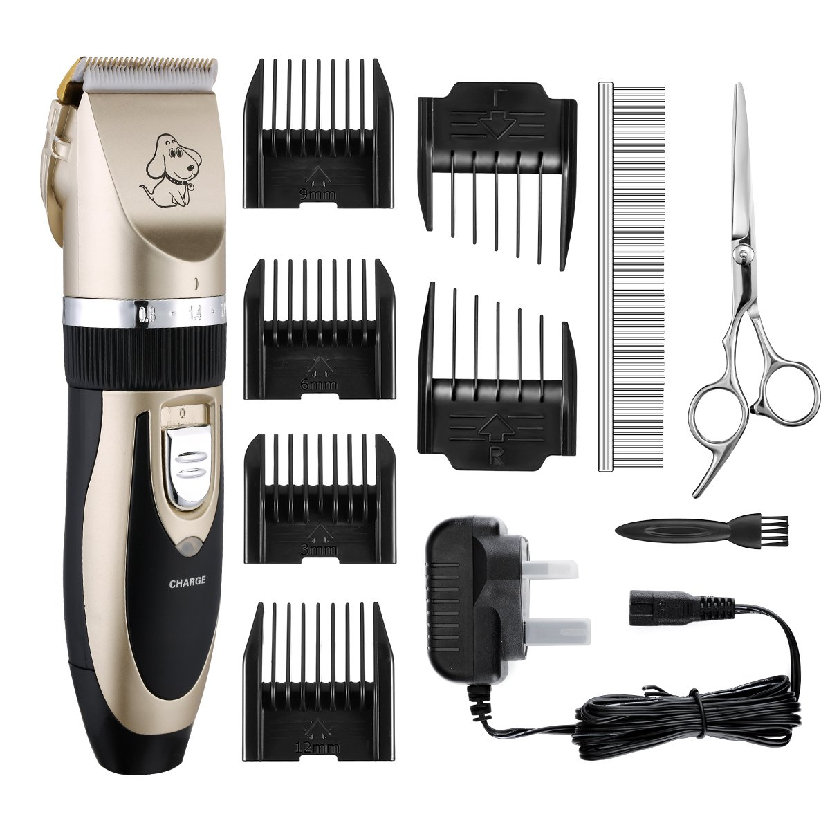 Clippers Cordless TOPOP Rechargeable Pet Grooming Clippers Low Noise Electric Clippers Low Vibration Pet Hair Shaver Pro Ceramic Movable Blade Grooming Trimmer Kit Set Cat Clippers with Metal Comb ,Stainless Steel Scissors, 6 Comb Guides and Cleaning Brus