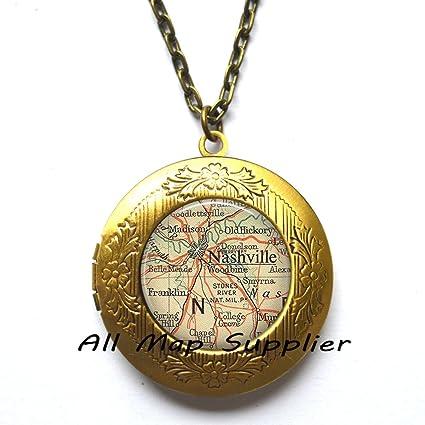 Amazon.com: Charming Locket Necklace,Nashville map Locket Necklace ...