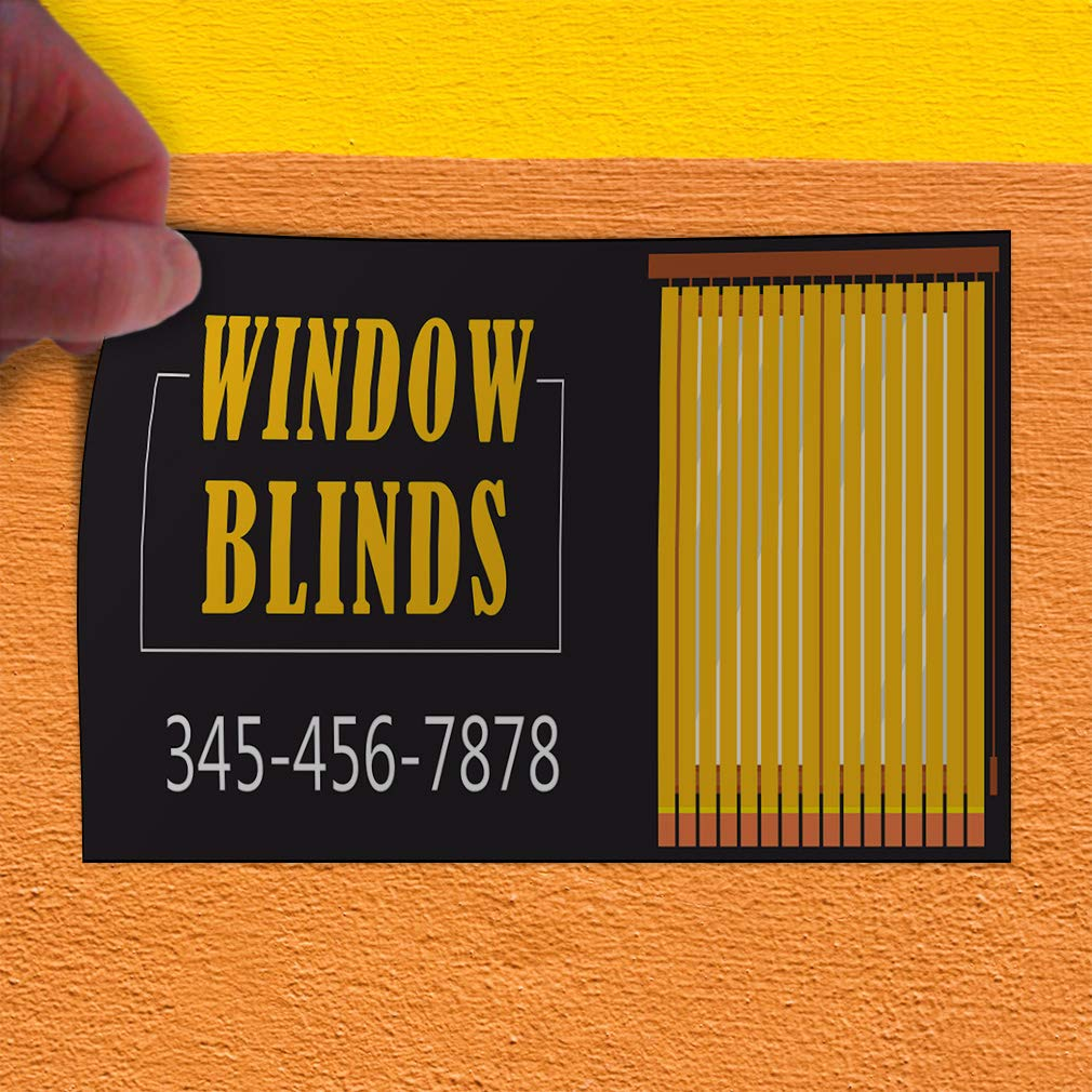 Custom Door Decals Vinyl Stickers Multiple Sizes Window Blinds Phone Number Black Orange Business Window Blinds Outdoor Luggage /& Bumper Stickers for Cars Black 64X42Inches Set of 2