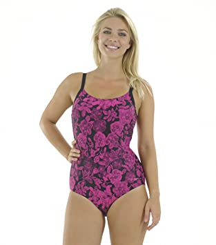 Zoggs Swimsuit Womens Water Rose High Back Swimming Costume Pink