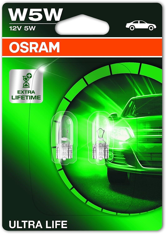 OSRAM ULTRA LIFE W5W, Lámpara halógena, luz de matrícula y de posición, 2825ULT-02B, automóvil de 12 V, ampolla doble (2 unidades)