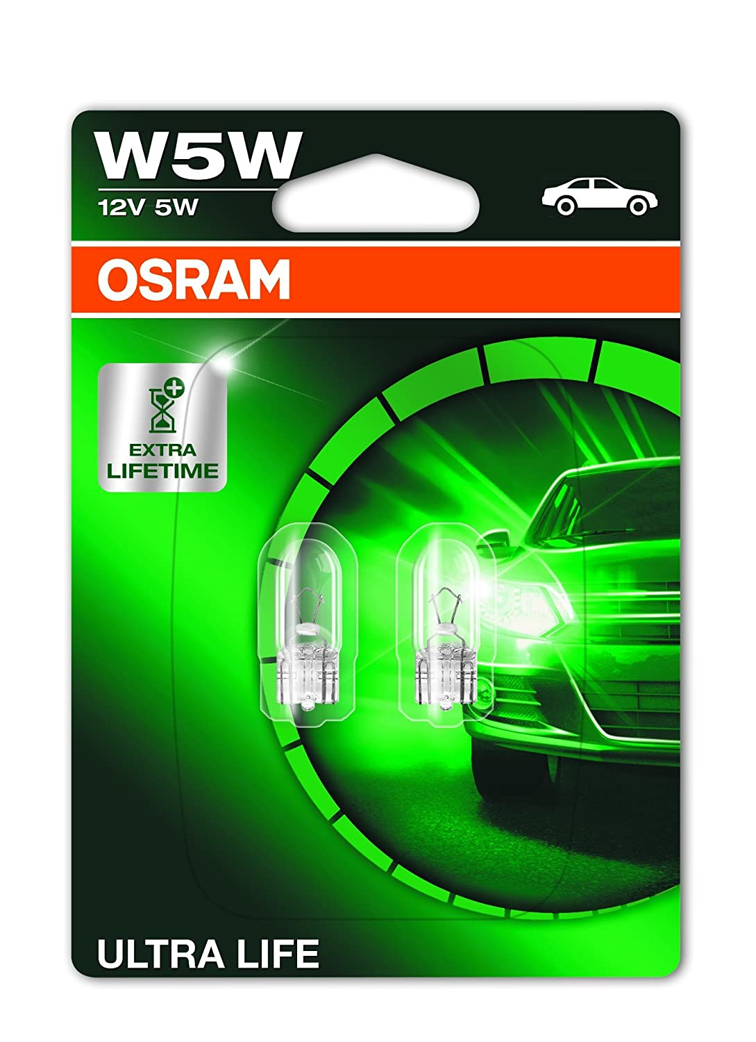 Osram 2825ULT-02B Ampoules de Signalisation Ultra Life W5W Set de 2 Blister double Orange