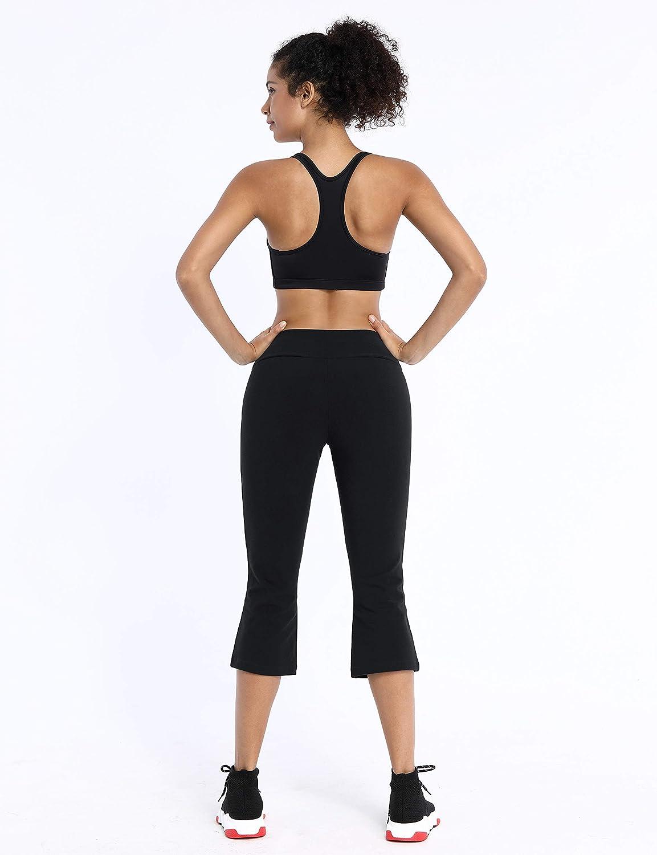 BUBBLELIME 29//21//20 Womens Long Bootleg High Waist Yoga Capri Out Pockets Tummy Control Workout Bootcut