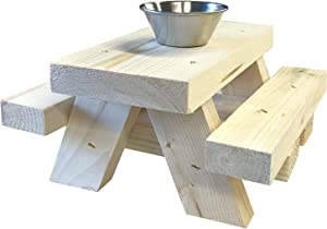 Squirrel Feeder for Outside Picnic Table with Cup Feed for Squirrel Food - Floor or Table Top Mount Squirrel Picnic Table Feeder - Made in USA - Loose Corn or Seed