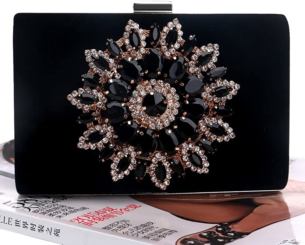 Mlotus Ladies Velvet Sunflower Crystals Evening Bag Handbags Clutch Purse Black