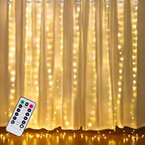 Window Curtain Lights 300 LED Fairy String Lights with Remote 8 Modes, Twinkle Backdrop Lights for Bedroom, Wedding Party, Patio, Apartment, Indoor Outdoor Halloween Christmas Decoration (Warm White)