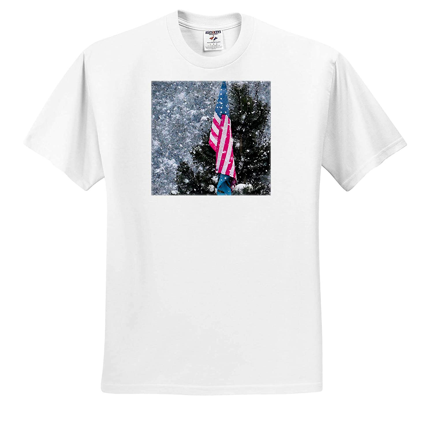 3dRose Jos Fauxtographee Winter Flag T-Shirts A Winter Scene of an American Flag with Snow Flakes Falling